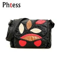 2017 Crossbody Vintage Bags For Women Black Flap Messenger Bags Pu Soft Leather Female Shoulder Bag
