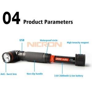 Image 5 - NICRON магнит 90 градусов поворот UV/белый 2 Цвет Перезаряжаемые фонарик 18650 2500 мА/ч, литий ионный аккумулятор Батарея 5 Вт 80 м Луч расстояние B75