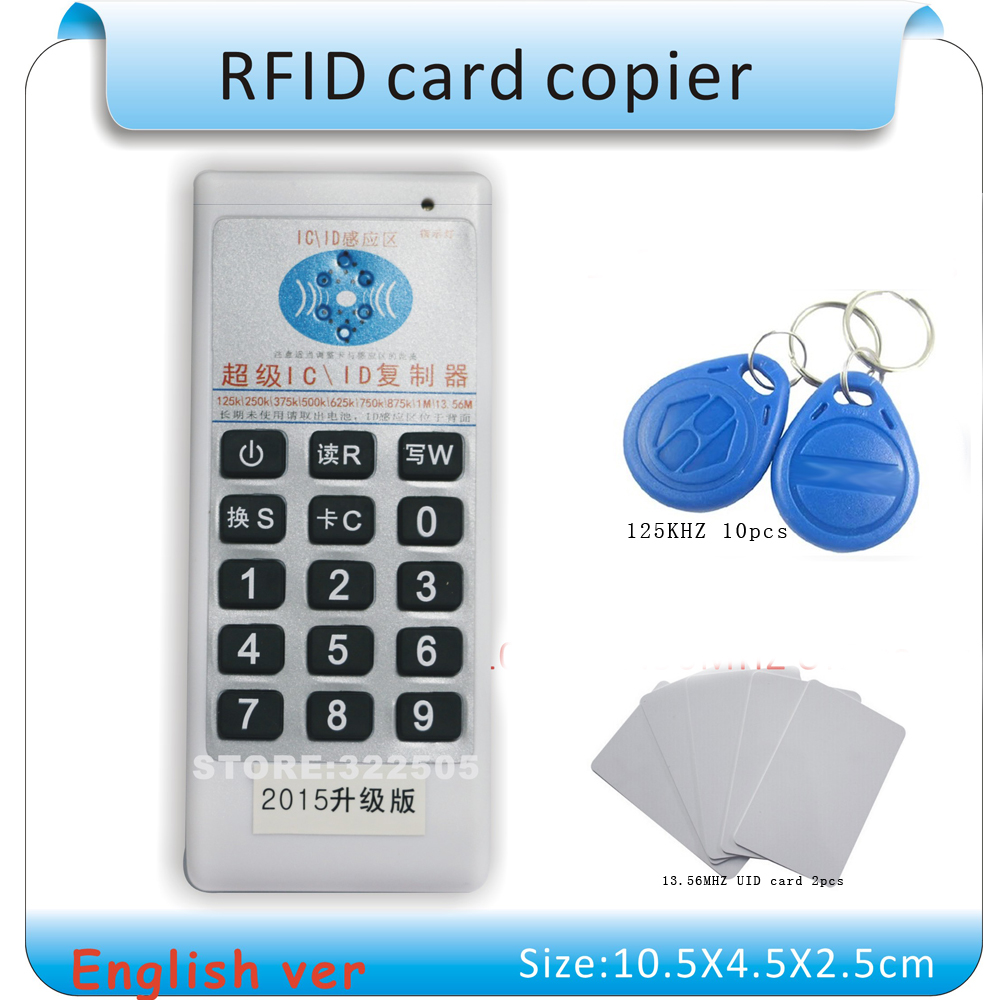 Updated Handheld 125Khz-13.56MHZ RFID Copier Duplicator Cloner ID/IC card reader & writer + 10pcs 125KHZ +2pcs 13.56MHZ cards id card 125khz rfid reader