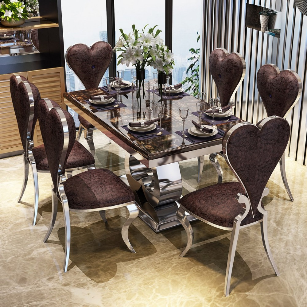 Rama Dymasty Stainless Steel Dining Room Set Home Furniture Modern Marble Dining Table And 6 Chairs,rectangle Table