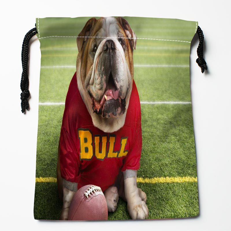 New Custom Dog Playing Football Bags Custom Drawstring Bags Printed Gift Bags 27x35cm Compression Type Bags