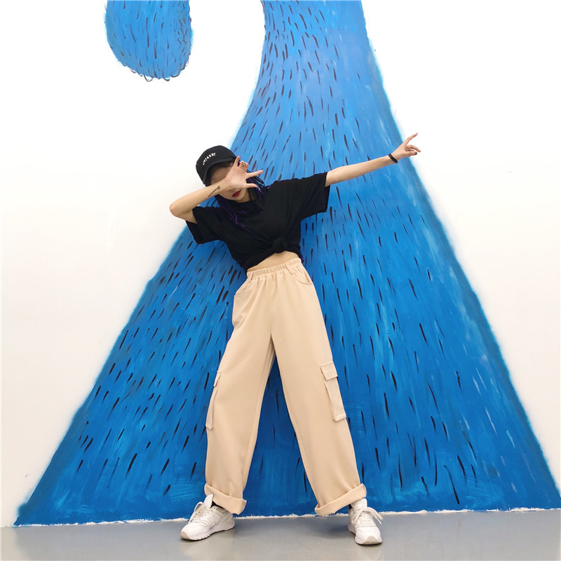 Wide Leg Cargo Pants Women High Waist Summer Sweat Pants Bottom Loose Pockets Streetwear Female Harajuku Elastic Cool Trousers