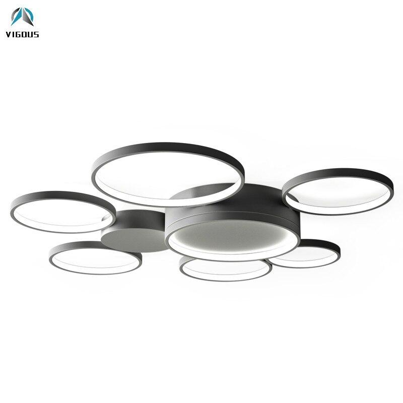 Moderne Plafond Cercle Rond En Aluminium Dimmable Led Lustre Télécommande Luminaires Led Plafond Lustre Lamparas Appareils