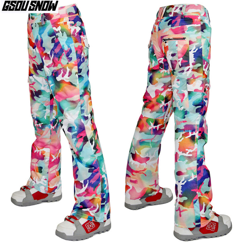 GSOU SNOW Brand Ski Pants Women Skiing Snowboarding Pants Camo Winter Waterproof Snow Snowboard Trousers Outdoor Sport Clothes drawstring spliced camo jogger pants