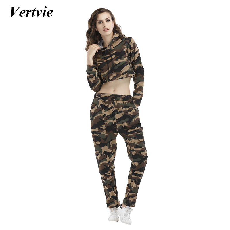 Vertvie Brand Camouflage Womens Tracksuit Military Style Sports Running Fitness Suit Sexy Long Sleeve Top+Elastic Waist Panties