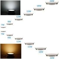 (5pcs/lot ) Led Panel Lighting 7W/9W/12W/15W/18W/24W AC85 265V Warm White/White Ceiling Light Indoor Lighting