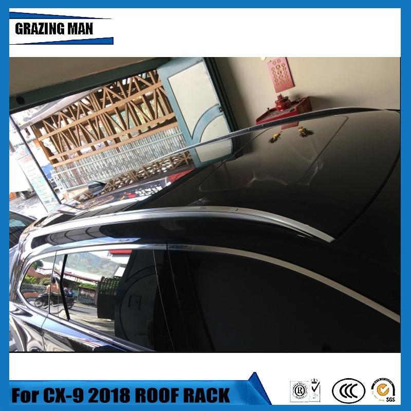 Liga de alumínio Do Carro Telhado Trilhos do Rack Bagageiro Bagagem Cruz Bar Para Mazda CX9 CX-9 2018 18