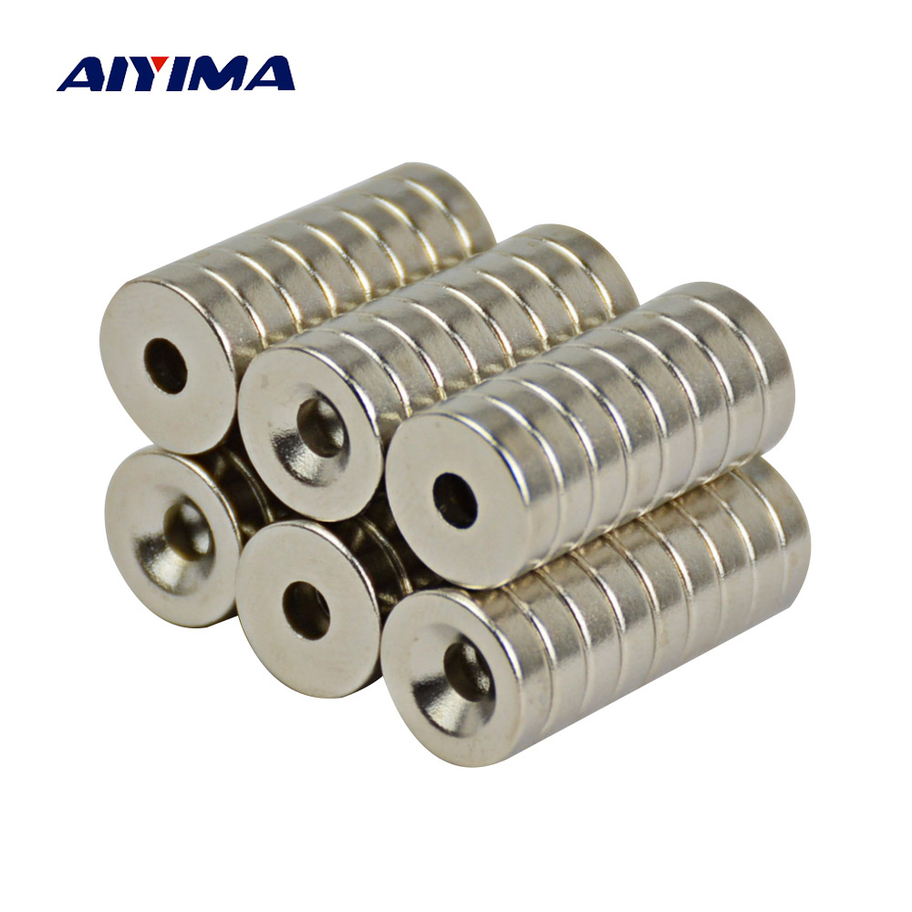 Aiyima 50Pcs Super Powerful Strong Rare Earth Small Round NdFeB Neodymium Disc Magnets Dia 15mm x 4mm Hole 4.2mm NdFeB Magnet 10x5 4mm cylindrical ndfeb n35 magnet w hole silver 10pcs