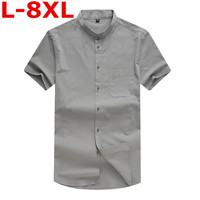 big size Mens Pullover Linen Shirts Short Sleeve Summer Breathable Mens Quality Casual Shirts Loose fit Solid Cotton Shirts Men