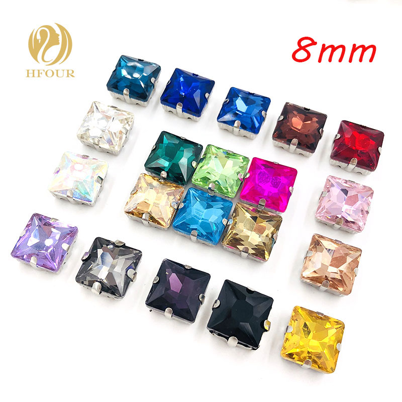 Free shipping 8mm 20pcs Silver bottom square shape glass rhinestone sew on rhinestones w ...