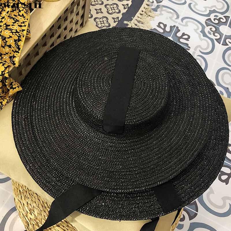 Handmade Black Natural Straw Hat For Men Women Bandage Ribbon Tie Wide Brim Sun Hat Derby Sun Protection Summer Beach Hat