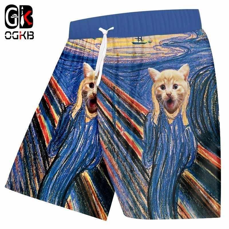 OGKB 2018 Verão Calções de Praia Casuais Calções Impressão Legal Listrado Colorido 3D Animal Gato Bermuda Quick Dry Boxers Calças