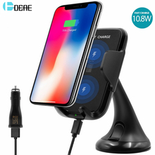 DCAE Qi Wireless Charger Car Holder 10.8W Fast Wireless Charger For Samsung S8 Plus S6 S7 Edge Note 5 8 iPhone X Mount Charging