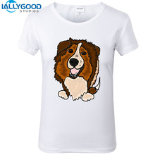 New Summer Fashion Funny Shetland Sheepdog Art T-Shirts Women Soft Cotton Cute Dog Printed White T Shirts Tops S1177
