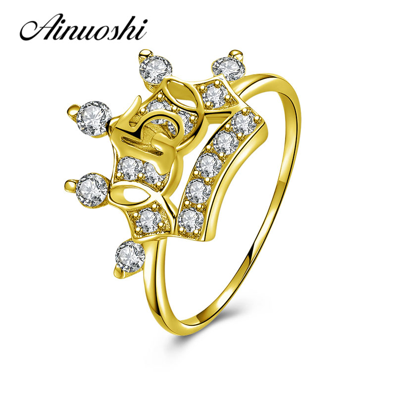 AINUOSHI Luxurious Princess Crown Ring 10K Solid Yellow Gold Bridal Ring Crown Ring 15th Anniversary Jewelry Women Wedding Ring graceful solid color rhinestone crown shape ring for women