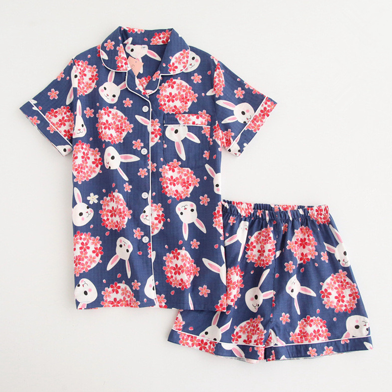 KISBINI Summer Fashion Women   Pajamas     Sets   Cartoon Flower Linen Short Sleeves Shirt+Shorts Pants Comfortable Sleepwear Night Wear