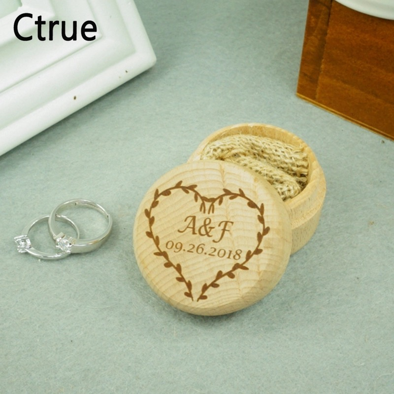 Custom Heart Ring Box Personalized Name Date Wedding Valentines Engagement Wooden Rustic Wedding Ring Box Bearer Holder in Party DIY Decorations from Home Garden