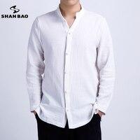 SHAN BAO Brand Men S Linen Long Sleeved Shirt Chinese Style Plate Buckle 2017 Autumn High