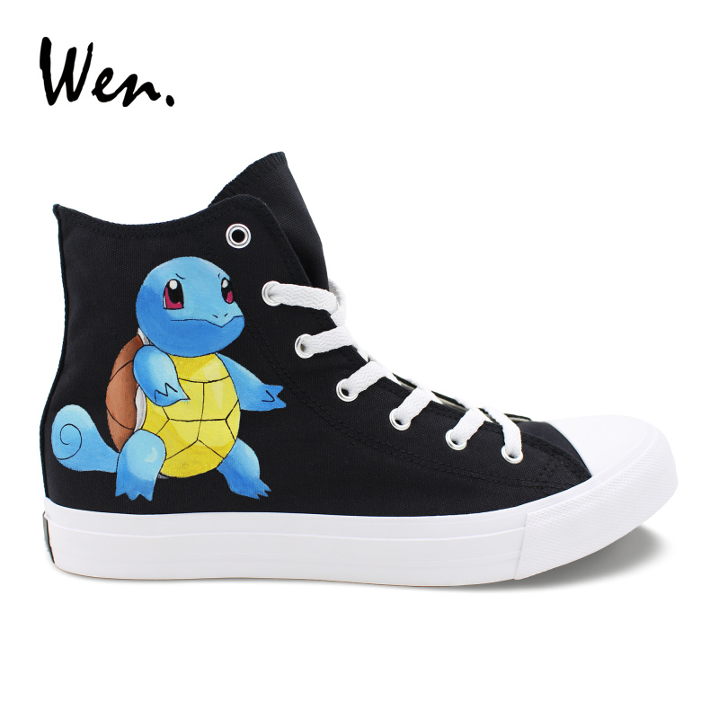 Wen Hand Painted Design Turtle Shoes Pokemon Squirtle Graffiti Shoes Black Canvas High Help Wrapping Foot Pedal Platform Flat sneakers designer sneakers sneakers sneakers high top - title=