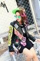 2016 mulheres outono inverno moda de rua flor bordado carta impressão rebite PU jaqueta de couro da motocicleta motociclista 8034