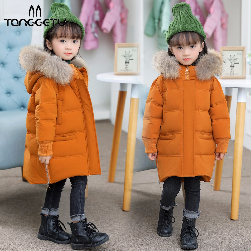 Tanggetu 2018 Kids Warm Coat For Winter Girls Thick Down Jackets For Girl Lint Hat Children Fashion Long Jacket Hooded Pink Red 2017 boys parka childen winter jackets for girls down jacket for girl hooded warm coat kids thick cotton down jacket cold winter
