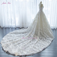 Real Photos Elegant Appliques Lace A Line Off The Shoulder Wedding Dress Strapless Bridal Gown Chapel