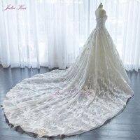 Real Photos Elegant Appliques Lace A Line Off The Shoulder Wedding Dress Strapless Bridal Gown Chapel