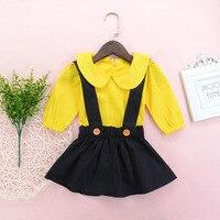 Urocza Dziewczynka Odzież Zestaw 2 Sztuk 0-24 M Niemowląt Dziewczyna żółty długi Rękaw Romper czarny Spódnica Stroje Zestaw Baby Girl wiosna kostium
