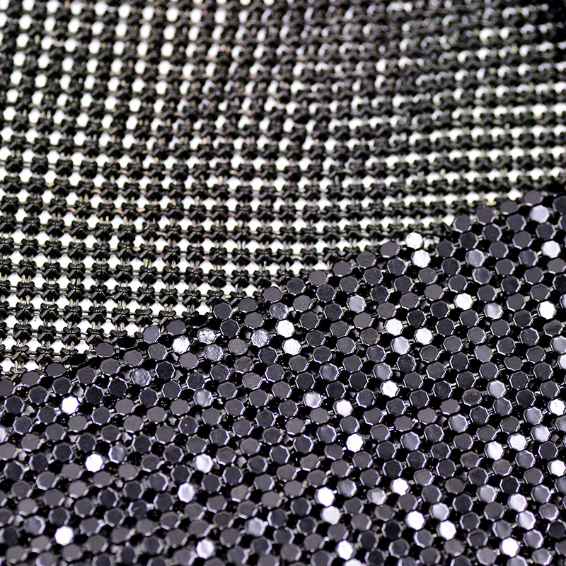 Aliexpress.com   Buy JUNAO 45 150cm Black Aluminum Mesh Metal Trim  Rhinestones Fabric Beads Applique Strass Crystal Band for Clothes Luggage  from Reliable ... 73e773050890
