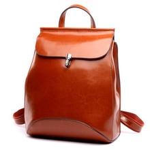 2017 Высокое качество Натуральная кожа рюкзак женская сумка женская Back Pack случайный плечо масло Воск Корова кожа старинные рюкзаки