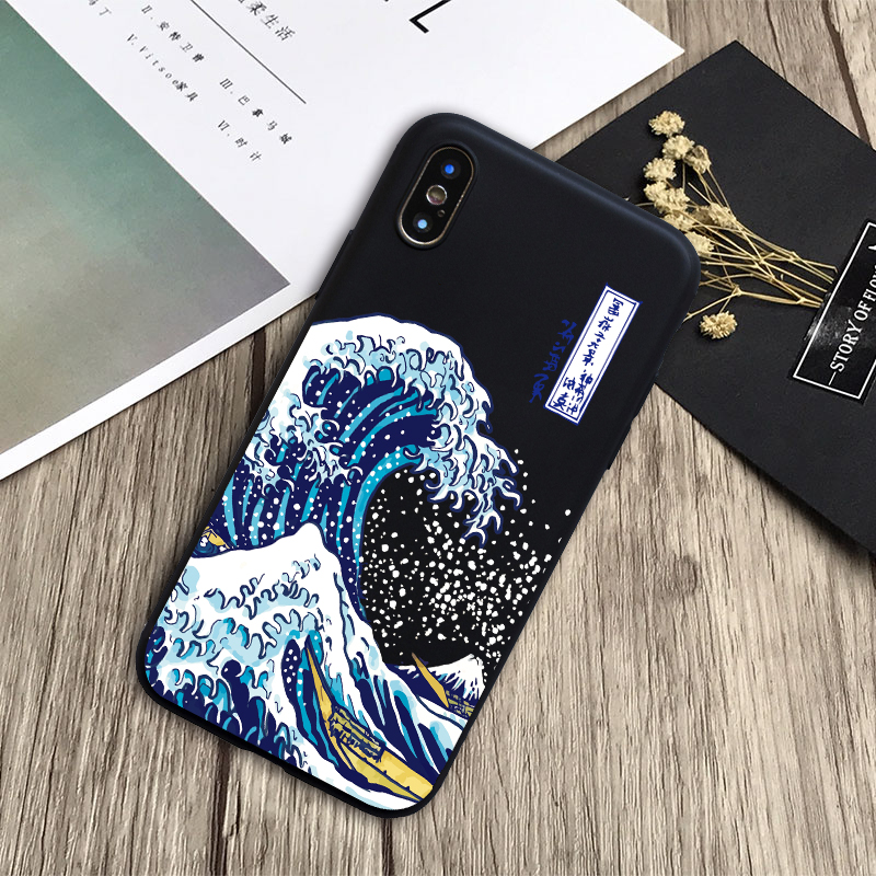 for <font><b>iphone</b></font> X XS <font><b>case</b></font> The Big Wave of kanagawa Back Cover Soft Phone <font><b>Case</b></font> Fundas For <font><b>iPhone</b></font> 5 5s SE 6 7 8 Plus XR XSMAX cover image