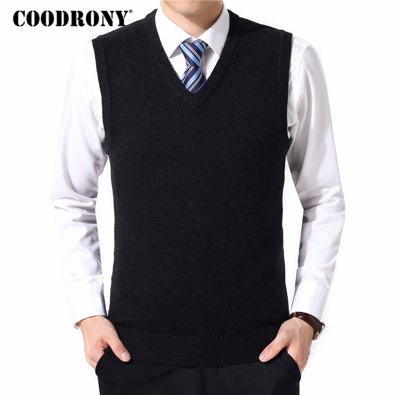 COODRONY Sweater Men Clothes 2019 Autumn Winter Warm Cashmere Wool Pull Homme Classic Casual V-Neck Sleeveless Vest Sweaters 126