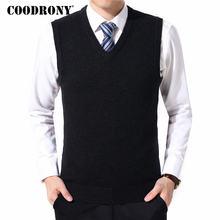 COODRONY Pullover Männer Kleidung 2020 Herbst Winter Warme Kaschmir Wolle Pull Homme Klassische Casual V-ausschnitt Sleeveless Weste Pullover 126