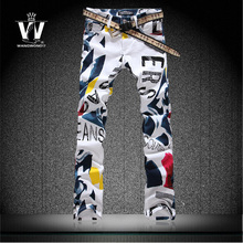 Male colored drawing flower pants mens jeans men's clothing high quality 100% elastic cotton slim thin skinny denim trousers