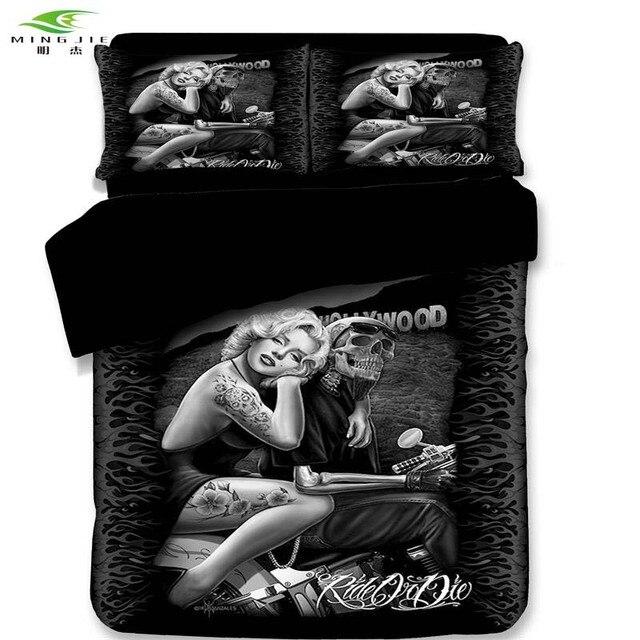 Edredon Marilyn Monroe.Us 49 94 40 Off 3d Skull Marilyn Monroe Bedding Set Halley Motorcycle Duvet Cover Set Pillowcase Elegant Rose Beauty Kiss Us King Queen Full In