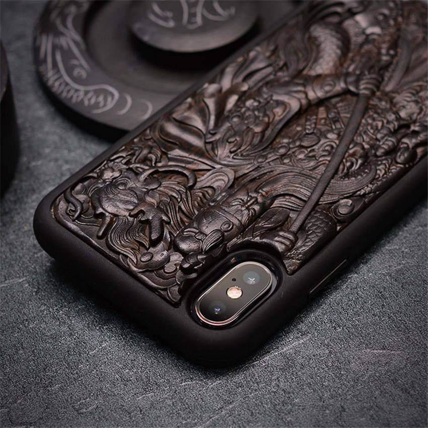Case For iPhone XR X XS Max ebony Black wood 3D Stereo Emboss Carved Wooden TPU Back Cover Case For iPhone 6 6s 7 8 plus (8)