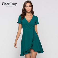 цены на Fashion Flounce Dress Sexy Deep V-neck Solid Short Sleeves Short Dress Lovely Elegant Comfortable Dress High Quality Simple  в интернет-магазинах