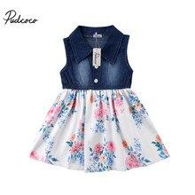 ae29babd603 2018 Брендовое Новое Детское летнее джинсовое платье-пачка для маленьких  девочек