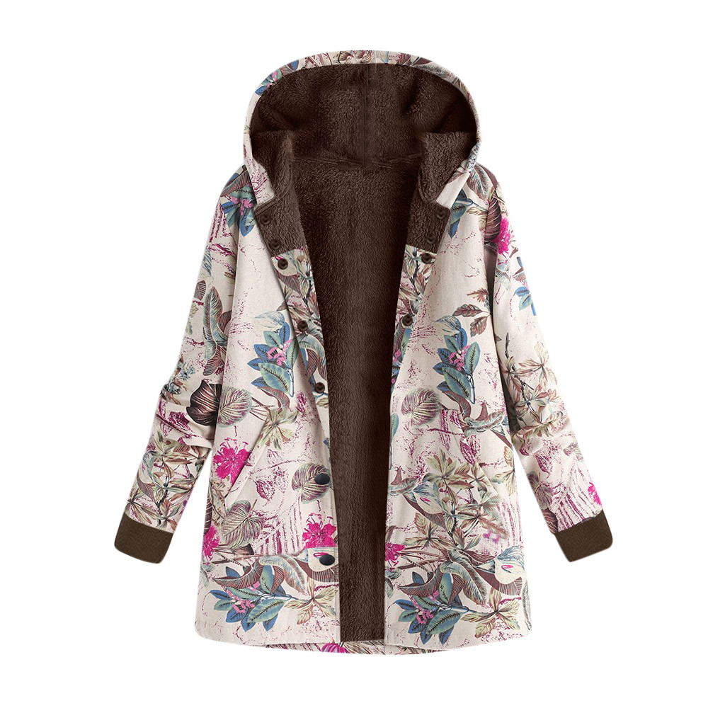 2018 hooded Coats Cotton Winter Jacket Womens Outwear coat Warm Outwear Floral Print Hooded Pockets Vintage Oversize Coats F30