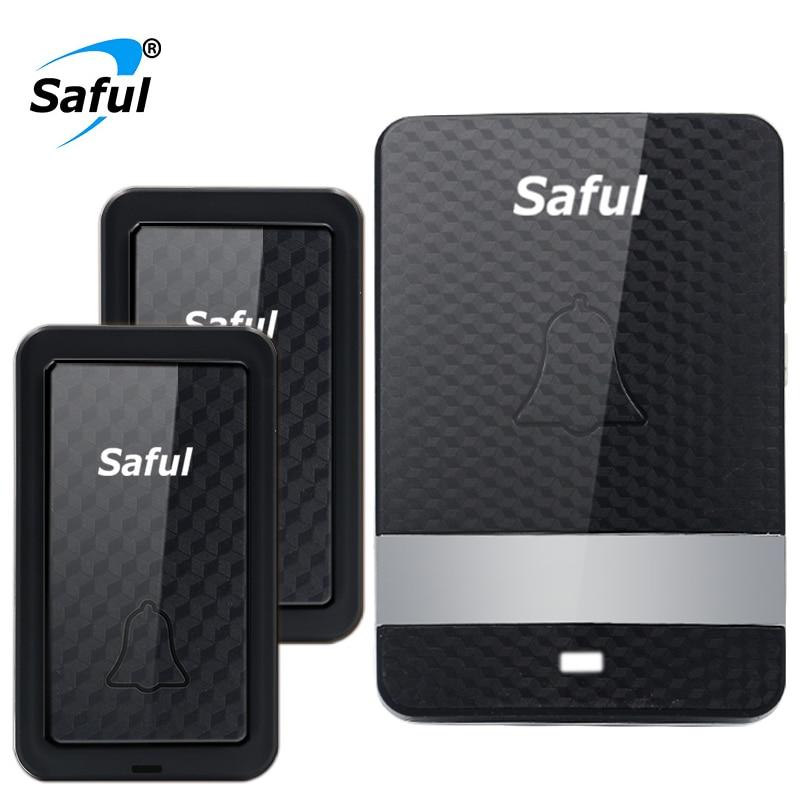 Saful Self-powered Waterproof Wireless Doorbell no battery long distance 2 Outdoor Button +1 Indoor Receiver EU/US/UK/AU plug saful self powered waterproof wireless