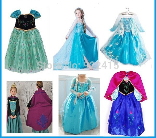 kids Carnival Clothing girl ice Elsa Costume Princess Dress Sequined Cosplay party Costume Anna Dress girl dresses