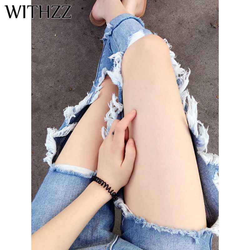 WITHZZ Ripped Jeans Ins Recommended Women's Loose Thin Gloria Jeans Women Pants Breeches Overalls Vintage Female Torn Trousers