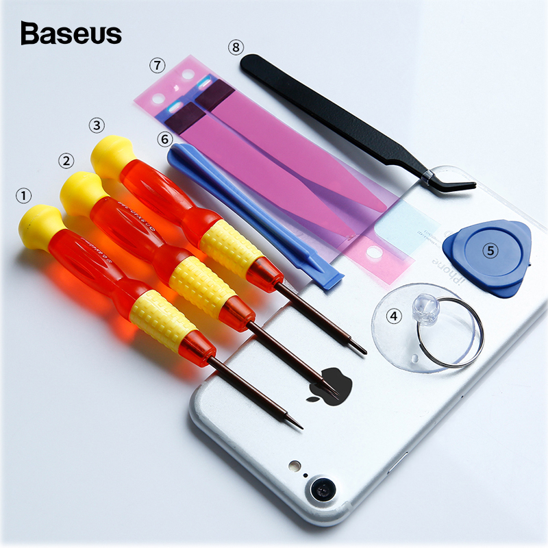 <font><b>Baseus</b></font> 8 in 1 Mobile Phone Battery Repair Tools Kit for <font><b>iPhone</b></font> 8 7 <font><b>6</b></font> <font><b>6s</b></font> 5 Battery Replacement Accessory Bundle Repair Tool Set image