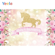Yeele Vinyl Golden Unicorn Flowers Baby Birthday Party Photography Backdrops Girl Photographic Backgrounds For Photo Studio
