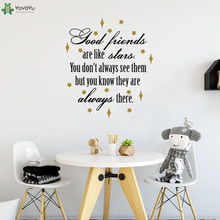 YOYOYU Wall Decal Creative Quote Good Friends Are Like Stars Sticker Bedroom Decoration Interior Adhesive Home Decor CY450