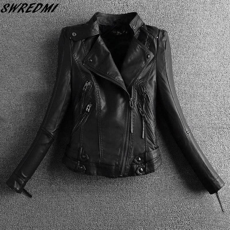 SWREDMI 2019 Black Motorcycle Leather Clothing Short Mandarin Collar Ladies Suede Women Biker Jacket Leather Coats S-2XL