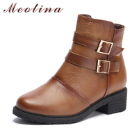 Latest Brand Women S Motorcycle Boots Genuine Leather Ankle Boots Female Square Low Heel Boots Zip