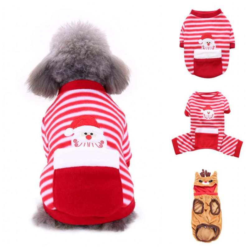Christmas Pajamas For Dog.Us 1 78 47 Off Christmas Dog Clothes Pajamas For Autumn Winter Xs Xxl Size Pet Clothing With Zipper Four Legs Jumpsuit For Pet Dog Bulldog In