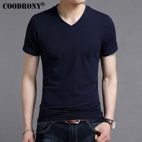 COODRONY Spring Summer Short Sleeve Tee Shirt Men Casual V Neck T Shirt Men Pure Cotton