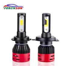 FOXCNSUN Car Headlight H4 Hi/Lo Beam LED H7 H1 H3 H8 H9 H11 9005 9006 HB3 HB4 72W 8000lm 6500K 4300k Auto Headlamp MINI COB CHIP(China)